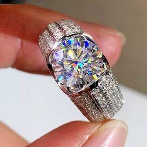 NEW 925 SILVER DIAMOND HALO RING